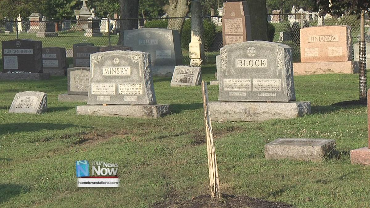 Hit-skip accident damages fence and gravestones at Gethsemani Cemetery 1.jpg
