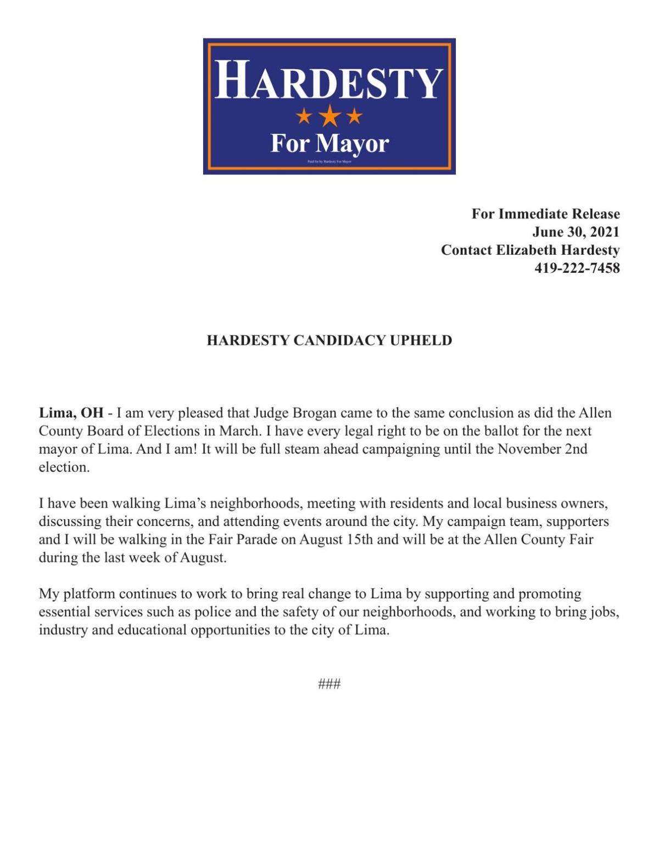 Press Release from Elizabeth Hardesty