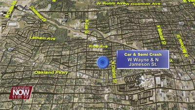 Semi vs. car accident damages home, ruptures gas line