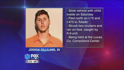 Joshua Gilliland in custody after stealing car with baby inside