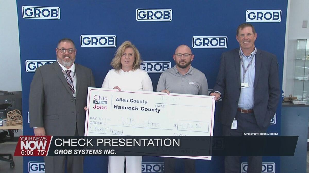 Ohio Means Jobs of Allen and Hancock County present check to Grob Systems