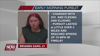A Findlay woman arrested after an early Sunday morning police pursuit
