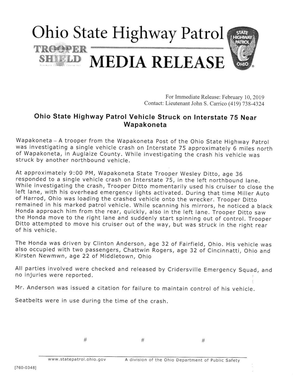Ohio State Highway Patrol cruiser struck on I-75.pdf
