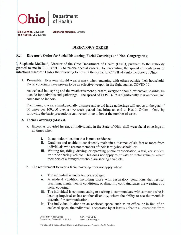 April 5, 2021 health orders