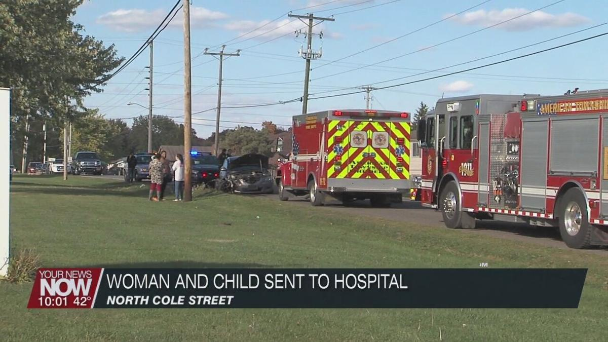 A woman and child to the hospital after a crash on N. Cole Street
