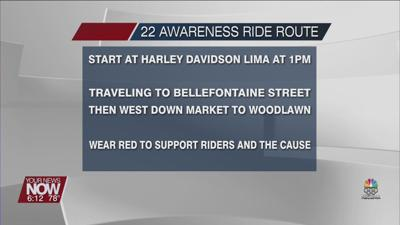 22 Awareness Ride route through Lima on the afternoon of July 24th