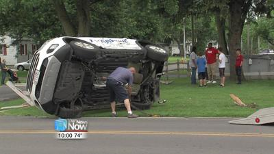 Car flipped on its side in two-vehicle crash 1.jpg