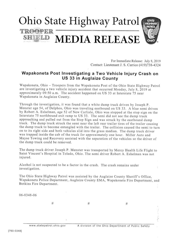 Delphos man transported by Life Flight after two truck crash in Wapakoneta.pdf