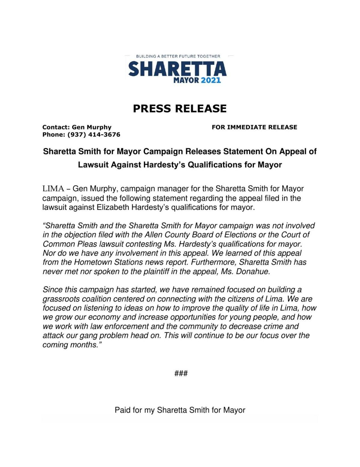 Appeals Case Statement from Sharetta Smith for Mayor Campaign.pdf