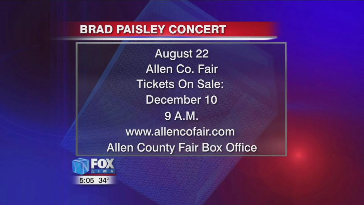 Brad Paisley coming to the 2020 Allen County Fair