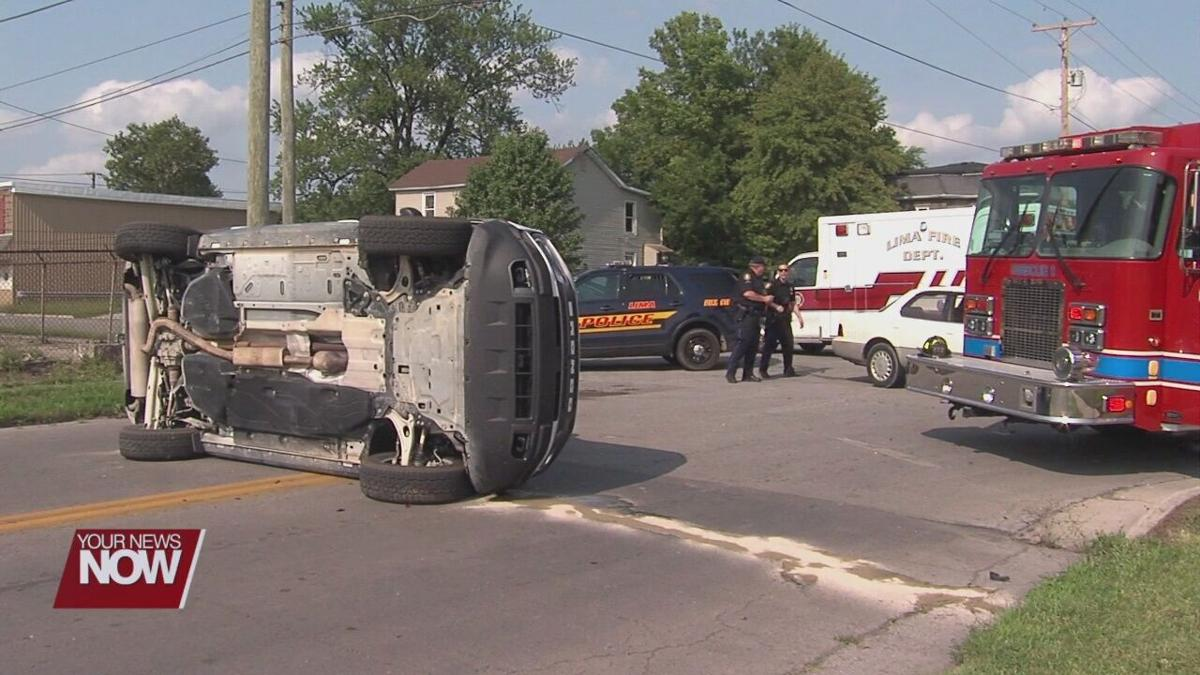 SUV rolls onto side after two-car crash in Lima