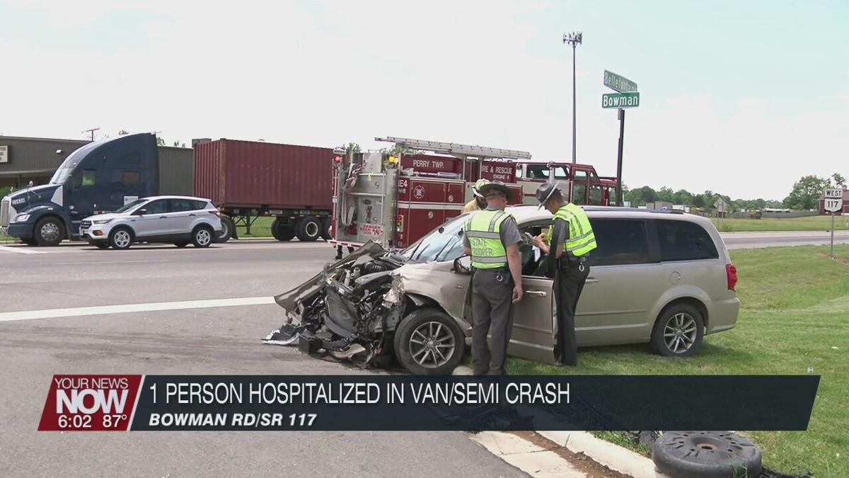 1 person hospitalized after a van vs semi accident in Perry Township