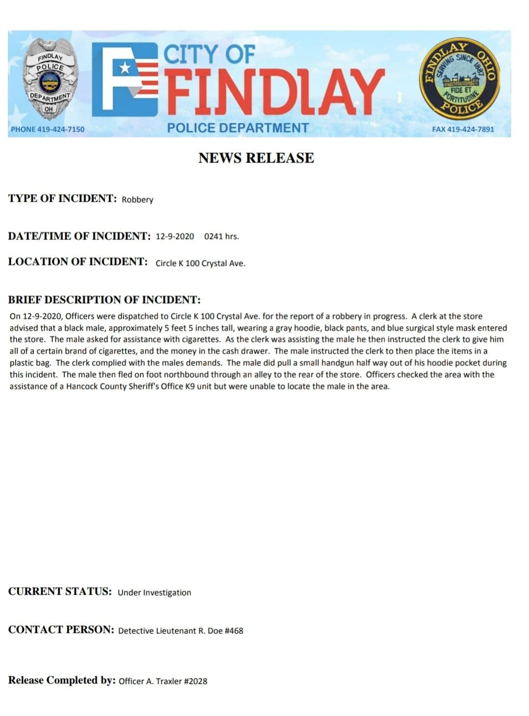 Findlay Circle K Robbery Press Release