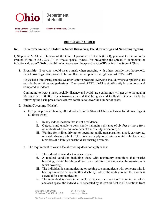 April 9, 2021 health order amendment