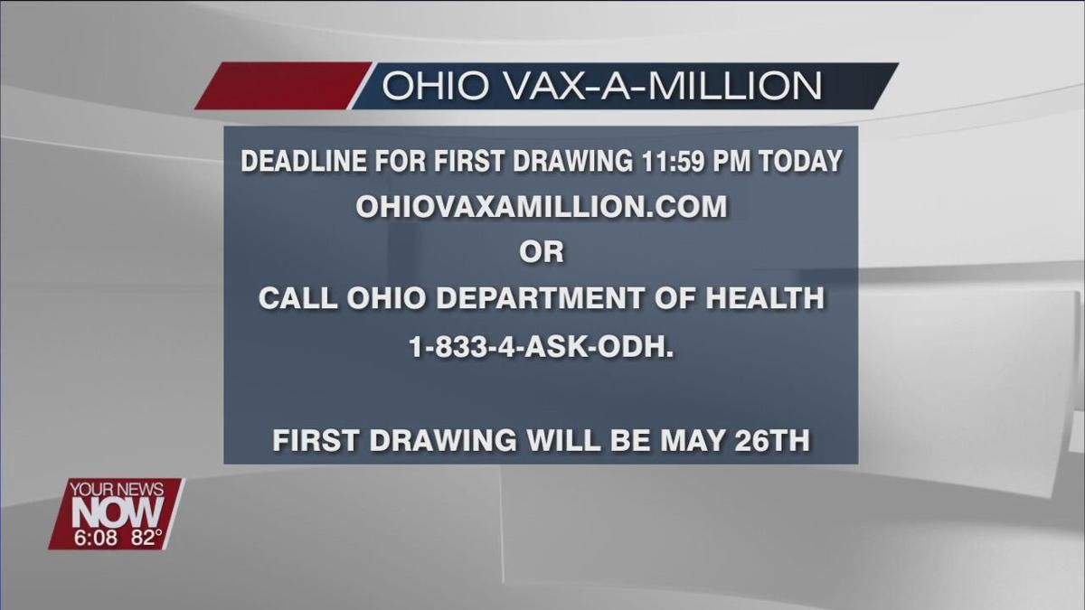 Deadline to register for the Vax-a-Million giveaway is Sunday at 11:59 pm