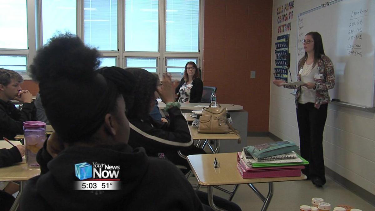 Mercy Health St. Rita's talking drug abuse with Elida HS students 1.jpg