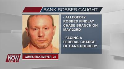 A Marysville man who allegedly robbed a bank in Findlay was arrested