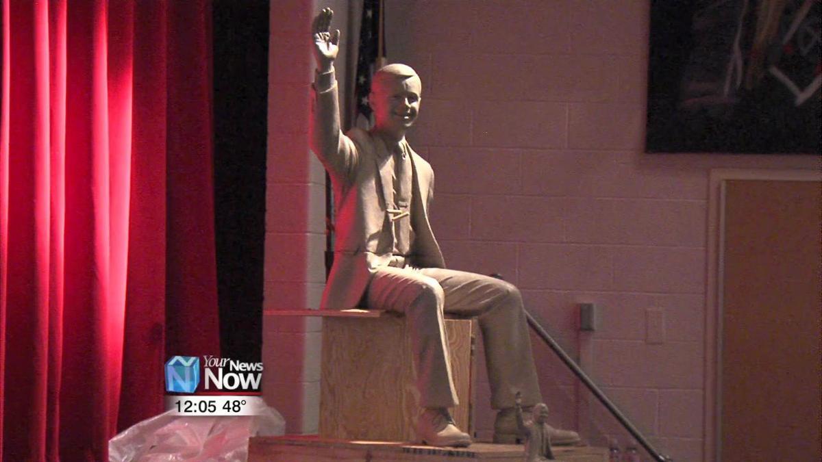 Sculptor of Neil Armstrong statue visits Wapakoneta Middle School 1.jpg