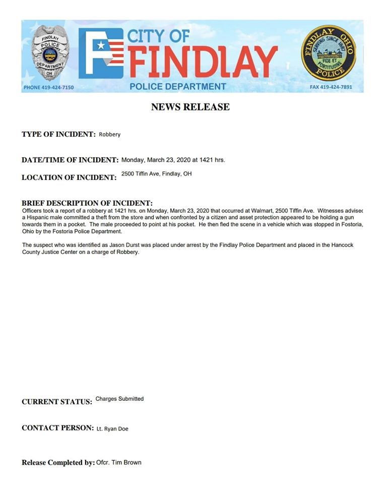 Findlay Police Department Robbery Press Release