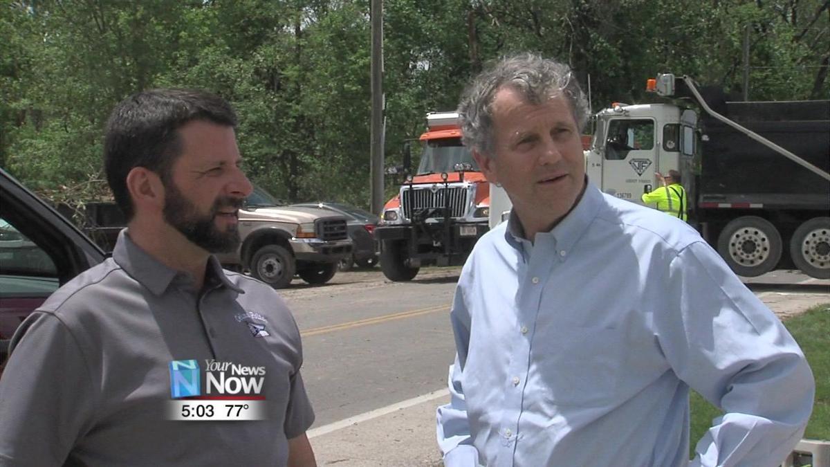 Sen. Sherrod Brown visits tornado damaged areas in Celina 1.jpg