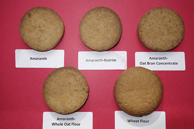 Cookie examples from the USDA ARS NCAUR in Peoria, IL. (LT-Rt top) Amaranth, Amaranth-Nutrim and Amaranth-Oat Bran Concentrate. (LT-Rt Bttm) Amaranth-Whole Oat Flour and Wheat Flour.  (D4549-1)