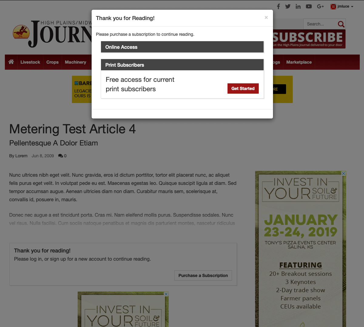Existing Print Subscribers Free Access