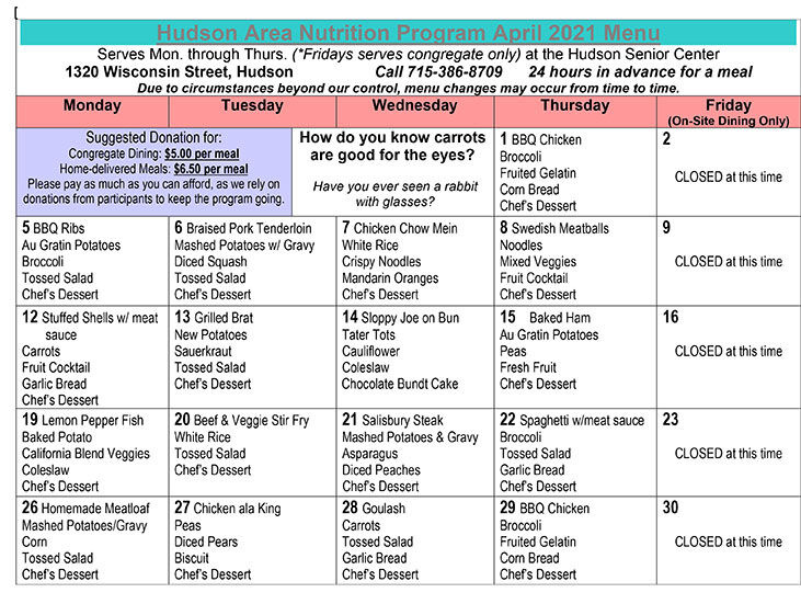 ADRC Hudson Senior Center Menu Resource