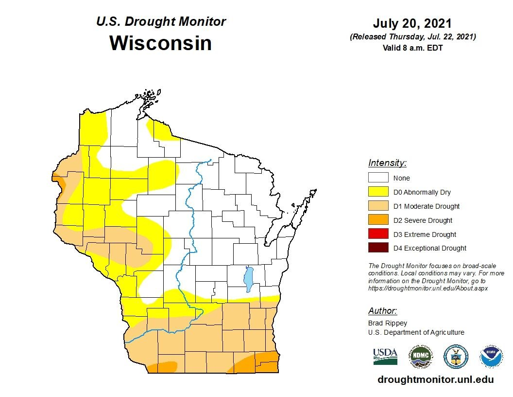 Wisconsin drought map July 2021