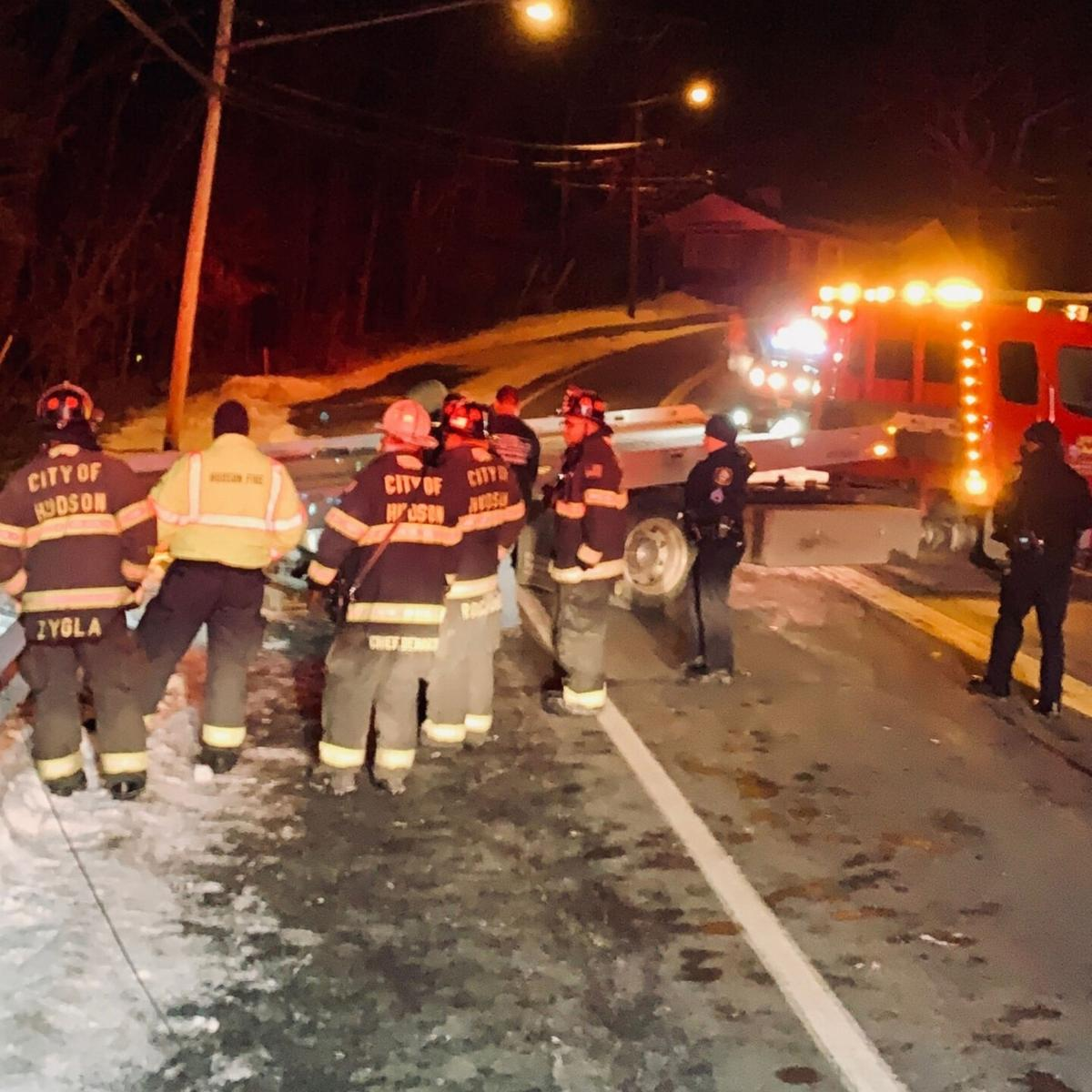 Woman hurt in Hudson rollover accident