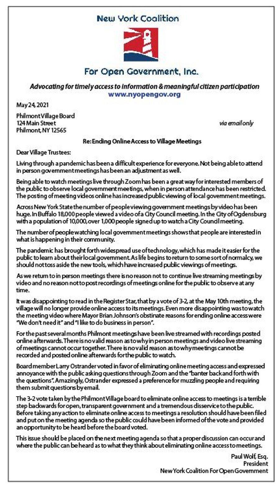 Coalition letter scolds Philmont village board