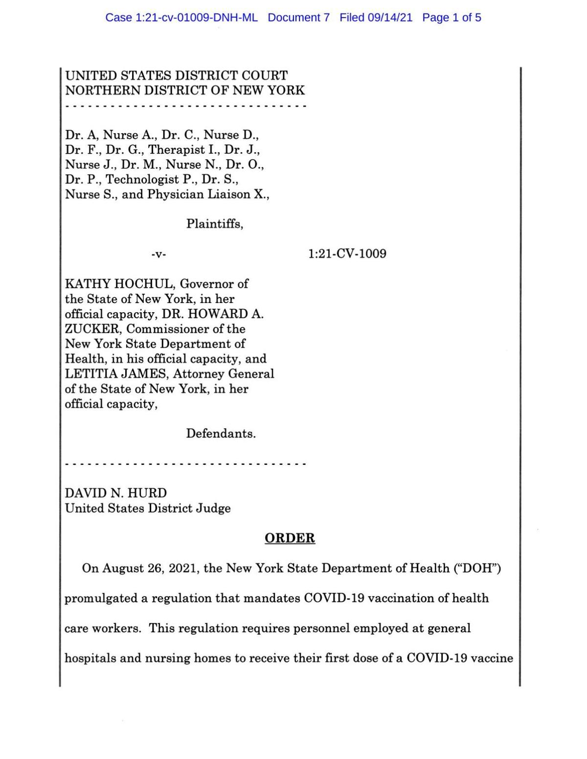 Judge's ruling on vaccine mandate