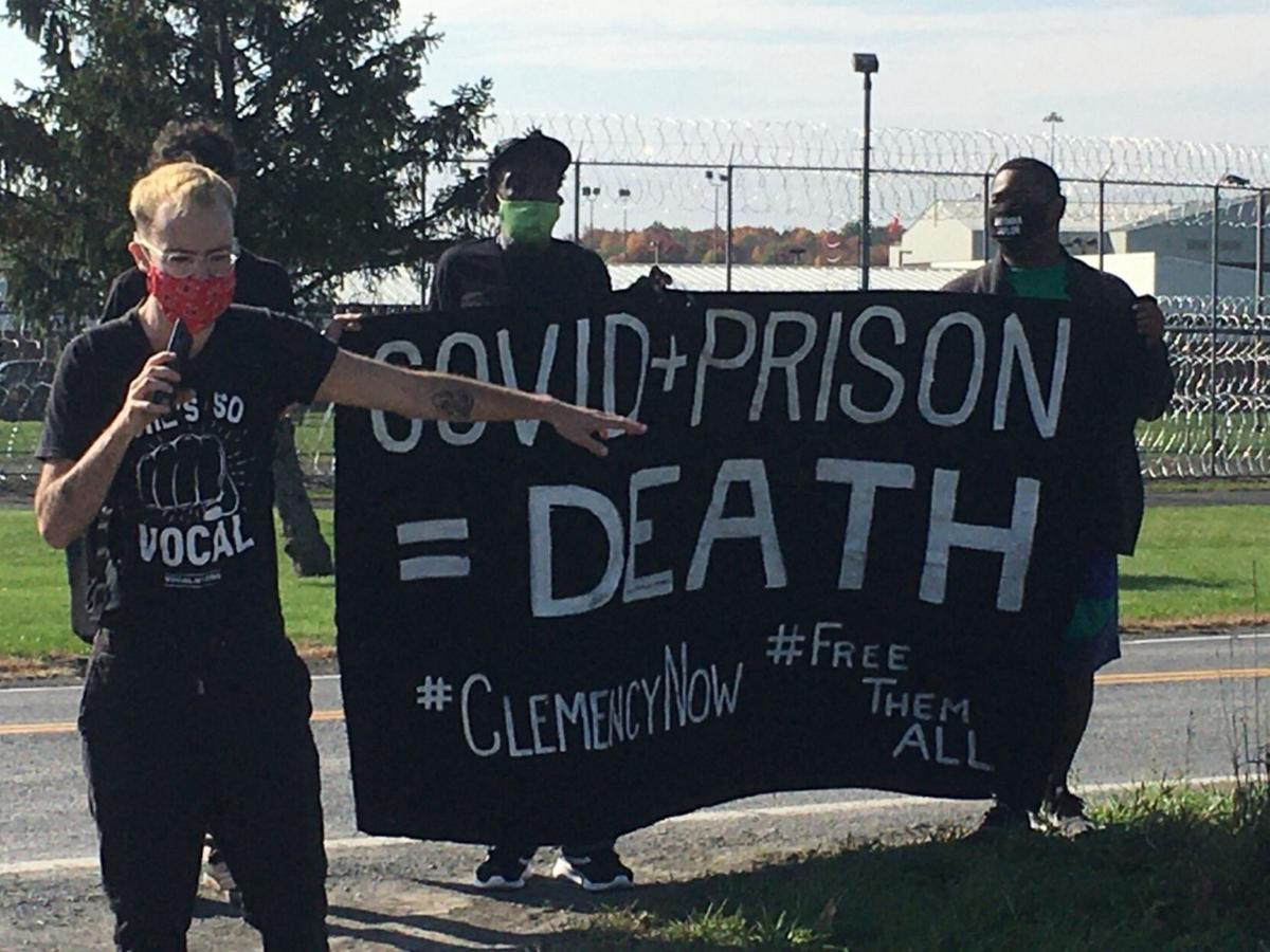 Protesters rally at prison