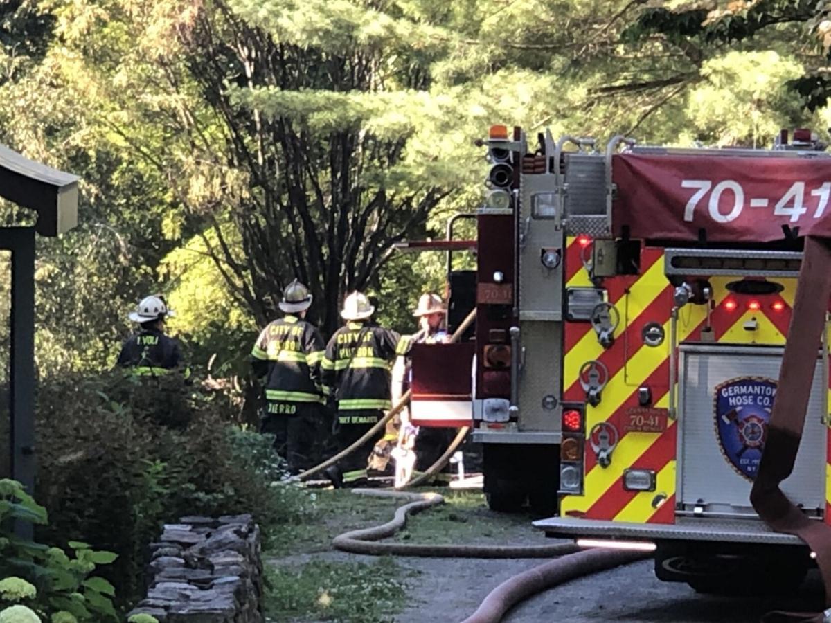 Firefighter taken to hospital