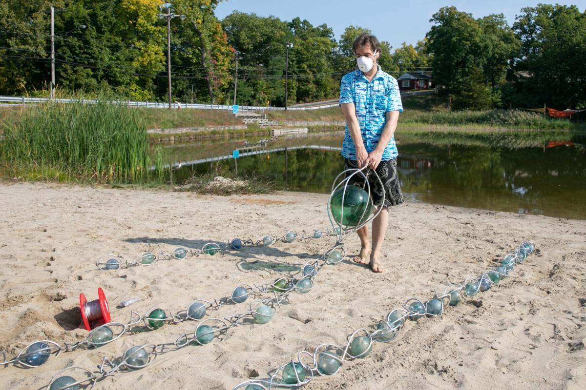 Floating sculptures adorn Oakdale Lake
