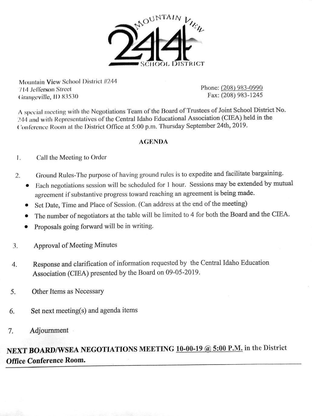 MVSD agenda