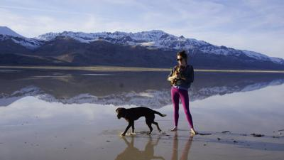 Katy Fox and her dogs Arnie and Gertie