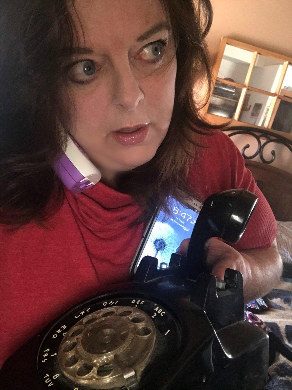 Lorie Palmer using various phones