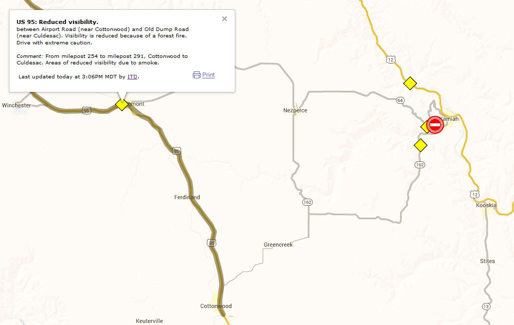 Kamiah Fire Map.Lawyer Complex Grows To 32 000 Acres News Idahocountyfreepress Com