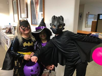 Trick-or-treaters at the Free Press