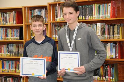 Comm - GEMS geo bee 2020 2nd and 1st pplaces Gallagher and Zechmann.JPG