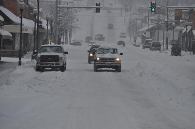 Grangeville's Main Street during a February 2019 snowstorm