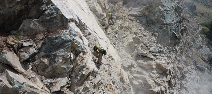 Rock scaling crew in action July 7