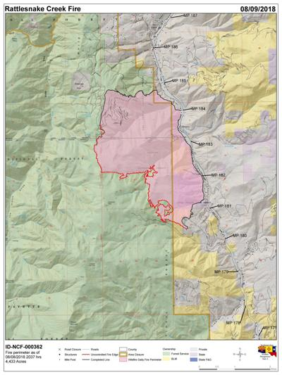 Kamiah Fire Map.Hot Weather May See Significant Increase In Rattlesnake Creek Fire
