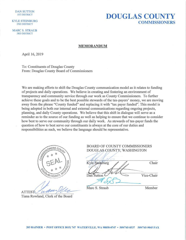 Douglas County Commissioners memorandum