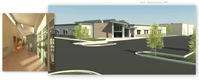 Rendering of the Douglas County Law and Justice Building, under construction in East Wenatchee.