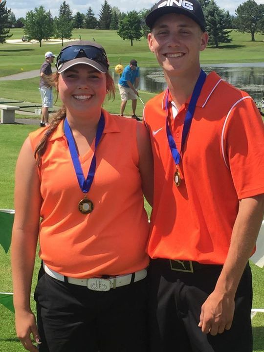 2A State Golf Champions Kenedee Peters and Aaron Whalen