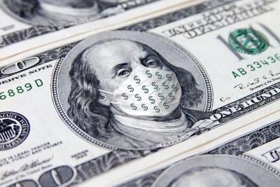 One Hundred Dollar money bill. Benjamin Franklin with face medical mask with dollar sign. COVID-19 coronavirus USA, Economy world crisis.