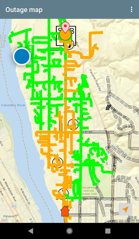 The yellow line indicates a corridor affected by Wednesday's electrical outage in East Wenatchee.