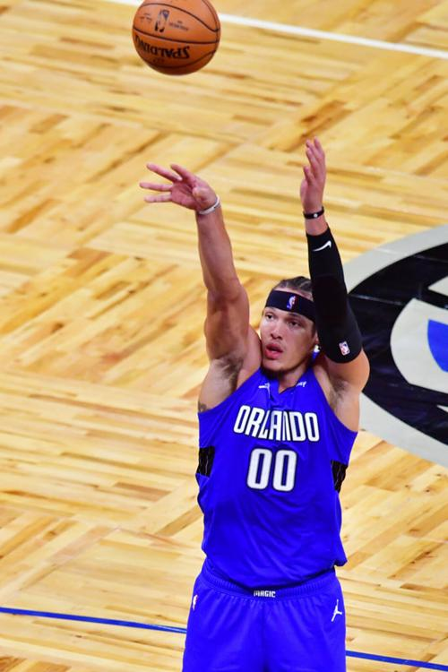 Aaron Gordon #00 of the Orlando Magic shoots during the second half against the Brooklyn Nets at Amway Center on March 19, 2021 in Orlando, Florida.