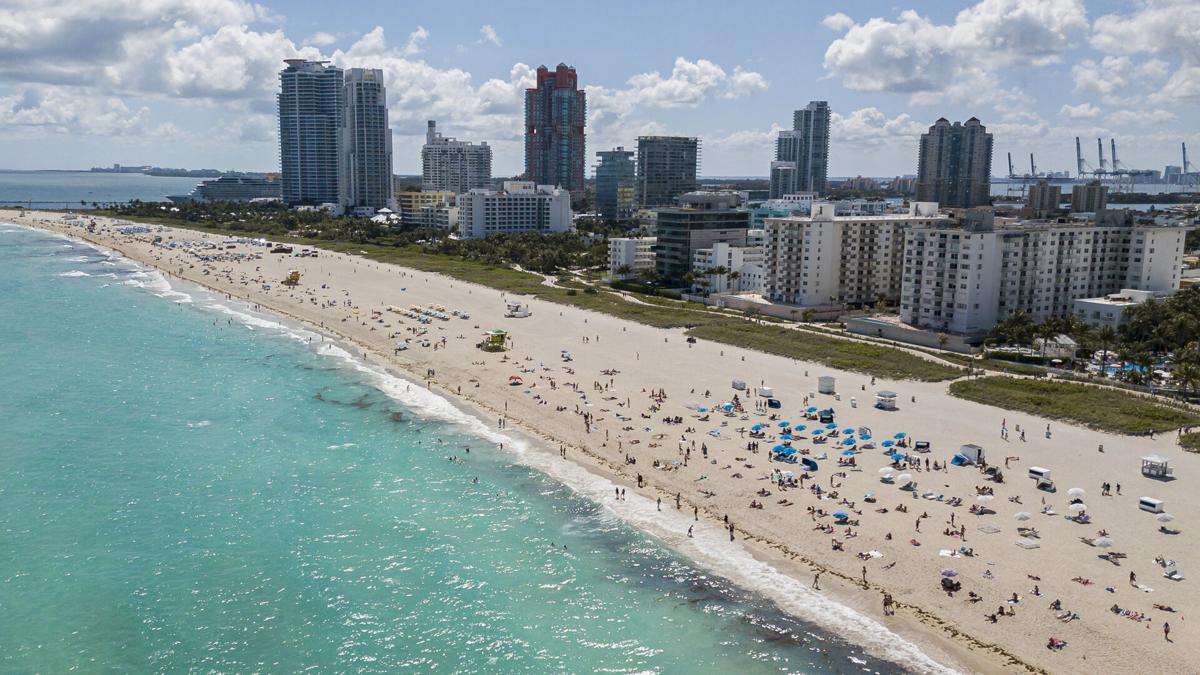 Aerial view of South Beach, where visitors are allowed to gather in Miami Beach, Florida on Monday, March 16, 2020.